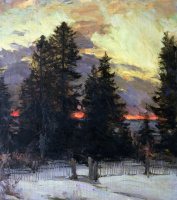 Абрам Ефимович Архипов. Закат. Зимний пейзаж