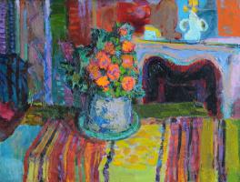 Nikolay Petrovich Glushchenko. Still life on a background of a fireplace