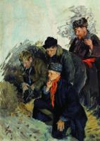 Иван Семенович Куликов. Петушиный бой. 1938 Этюд