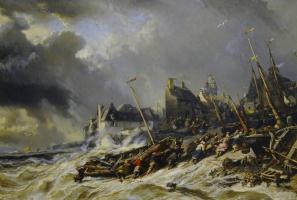 Eugène Isabey. Hurricane before Saint-Malo, France