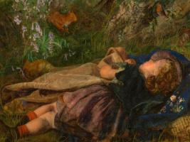 Arthur Hughes. The daughter of a woodcutter. Fragment. Sleep