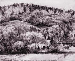 Alexander Victorovich Shevelyov. Landscape with cows.Boom.The tonir.Sepia 43,5 x 53,5 cm 1988