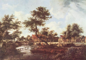Maydert Hobbema. View of the village with water mill