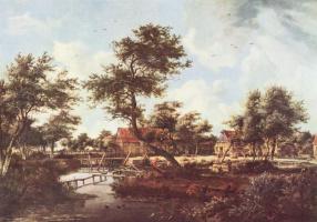 Мейндерт Хоббема. Вид деревни с водяной мельницей