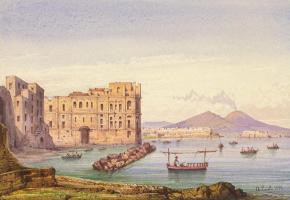 Акилле Карелли. Неаполитанский пейзаж с видом на Везувий