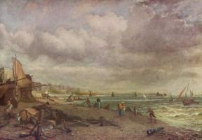 Джон Констебл. Пляж и подвесной мост в Брайтоне