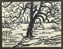 Fritz Bleuil. Tree on the beach