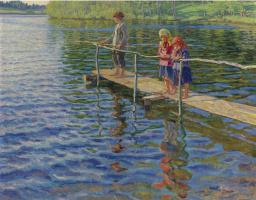 Николай Петрович Богданов-Бельский. Рыбалка на реке