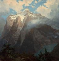 Альберт Бирштадт. Маунт-Брюэр из каньона реки Кинг, Калифорния. Фрагмент