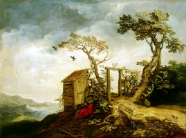 Abraham Bloomart. Landscape with the Prophet Elijah