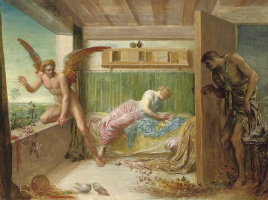 George Frederick Watts. When Poverty enters the door, Love flies out the Window.