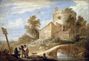 Давид Тенирс Младший. Пейзаж с башней