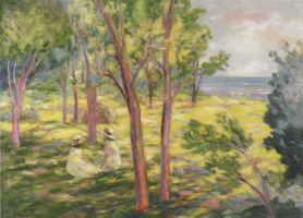 Henri Lebasque. Two girls in a landscape
