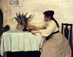 Эдвин Харрис. Девушка и цветы в вазе