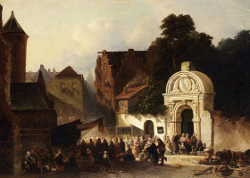 Якобус Адрианус Вролийк. Рынок в голландском городе