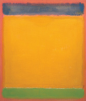 Untitled (Blue, yellow and green on red)