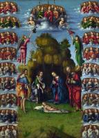 Лоренцо Коста. Поклонение пастухов с ангелами