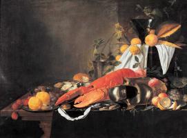 Ян Давидс де Хем. Натюрморт с лангустом