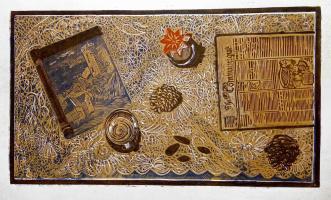 «Натюрморт с миндалем» цветная линогравюра