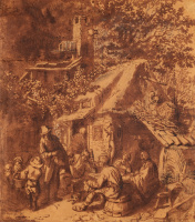 Корнелис Дюсарт. Шарманщик возле крестьянского дома