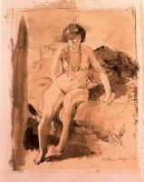 Уильям Орпен. Обнаженная, сидящая на кровати