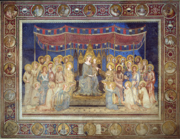 Simone Martini. Maesta, Madonna on the throne as the patroness of the city, surrounded by saints, fresco in the Palazzo Pubblico in Siena