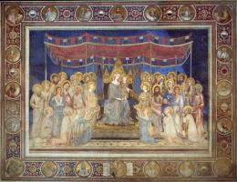 Симоне Мартини. Маэста, Мадонна на троне как патронесса города, окруженная святыми, фреска в Палаццо Пубблико в Сиене