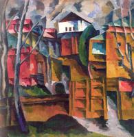 Аристарх Васильевич Лентулов. Пейзаж с белым домом и желтыми воротами