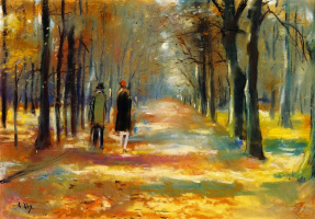 Lesser Ury. Walk in the woods