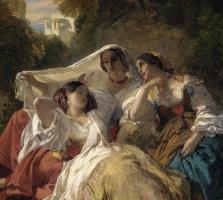 Франц Ксавер Винтерхальтер. Сиеста (Три девушки в тени деревьев). Фрагмент