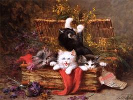 Леон Чарльз Хубер. Котята играют