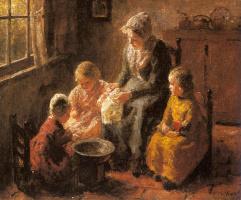 Бернард Потаст. Мать и ее дети в интерьере