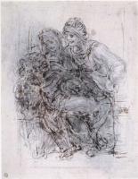 Leonardo da Vinci. Madonna with child and St. Anna (sketch)