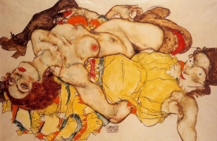 Egon Schiele. Two reclining girls