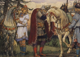 "Viktor Mikhailovich Vasnetsov. Farewell to Oleg with a horse. Illustration to ""the Song of wise Oleg"" by Alexander Pushkin"