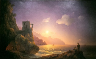 Ivan Constantinovich Aivazovski. Moonlight in Amalfi with a group of bandits, among them Salvator Rosa to paint from nature the landscape