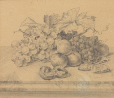 Johann Wilhelm Prairie. Still life with fruit and nuts on a marble table. 1834