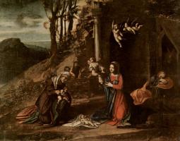 Антонио Корреджо. Рождение Христа, со св. Елизаветой и Иоанном Крестителем, а также спящим Иосифом