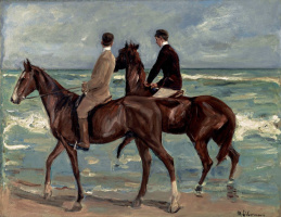 Two riders on the shore
