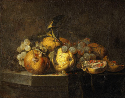 Willem van Aelst. Still life with grapes and pomegranate