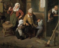 Корнелис Дюсарт. Крестьянская семья перед домом. Фрагмент