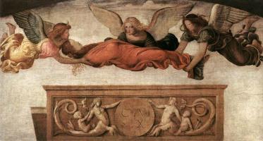 Бернардино Луини. Святая Екатерина, отнесенная к ее могиле ангелами