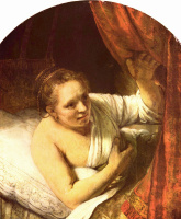 Рембрандт Харменс ван Рейн. Молодая женщина в кровати