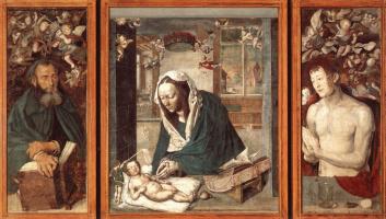 Albrecht Dürer. The Dresden altar. Central part: the Madonna and child; left wing: Saint Anthony; right: St. Sebastian