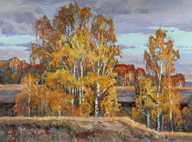 Oleg Borisovich Zakharov. Fall under Konstantinovo. At sunset.