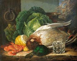 Эдвард Ладелл. Натюрморт с уткой, креветками и савойской капустой