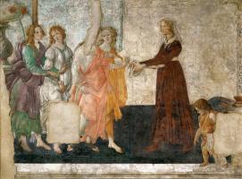 Сандро Боттичелли. Молодая женщина получает дары от Венеры и трех граций
