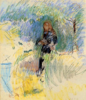 Берта Моризо. Молодая женщина с собакой на руках