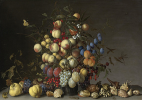 Baltazar van der Ast. Fruit bouquet in pewter vase, grapes, fruit and shells on the table
