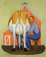 Грант Вуд. Мальчик доит корову